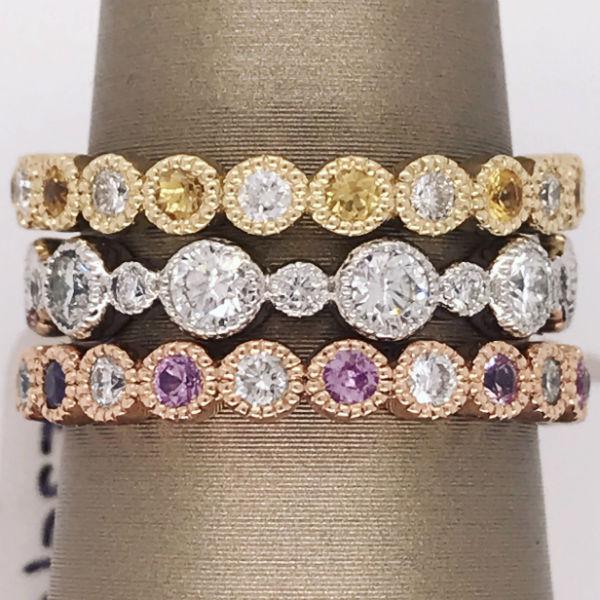 3 Stackable Diamond Wedding Bands