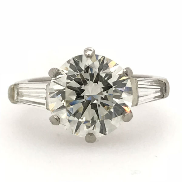 4.10 CTW Round Diamond and Baguette Engagement Ring
