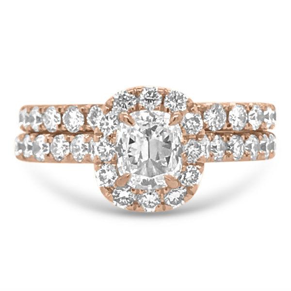 1.15 CTW Rose Gold Cushion Cut Engagement Ring