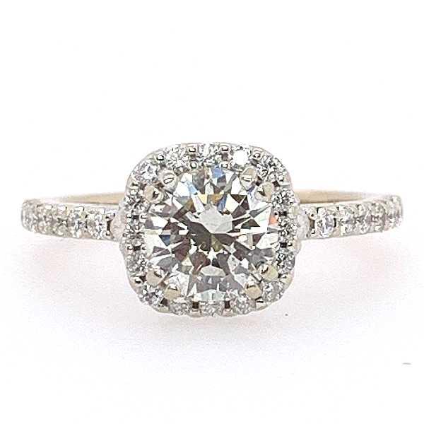 1.20 CTW Cushion Halo Diamond Engagement Ring