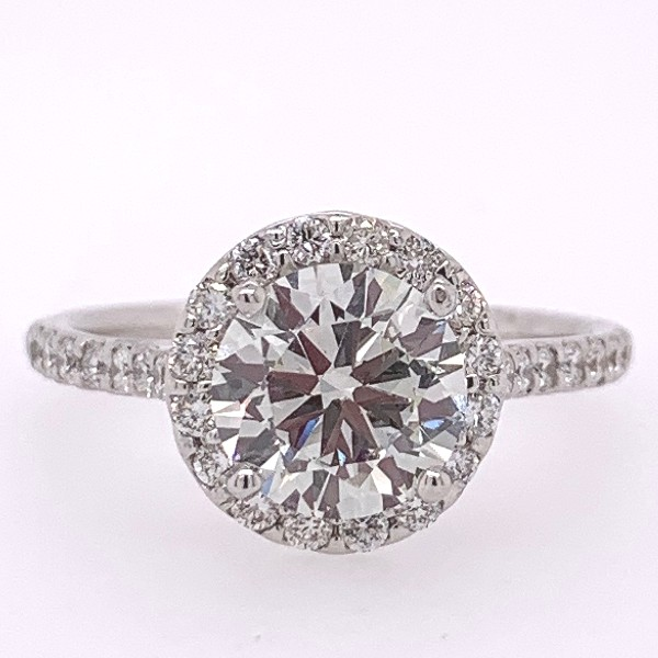 1.96 CTW Round Diamond Halo Engagement Ring