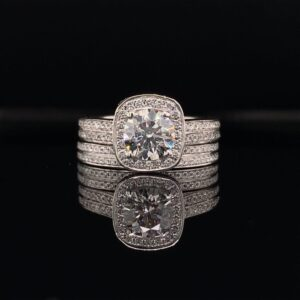 #LG105-972999 2.00CTW Platinum Ring AND Band 1.04CT Round Lab Grown Diamond I color SI2 clarity certified by IGI!
