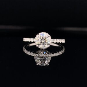 #LG106-97200 1.56CTW Under Halo Engagement Ring 1.05CT Round Lab Grown Diamond I color SI2 clarity!! Certified by IGI 18k White Gold