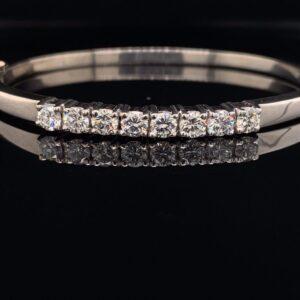 1.50ctw 14k White Gold Tennis Bangle 8 Round Diamonds H color VS clarity