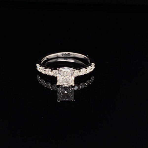 #1455-972000 0.72 ct. F SI1 14K White Gold Cushion GIA|