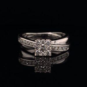 #1470B 14K White Gold Cluster Wedding Ring & Band