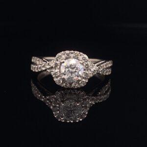 #DYR1483 14K 0.5ct. Halo White Gold Round Engagement Ring H SI1