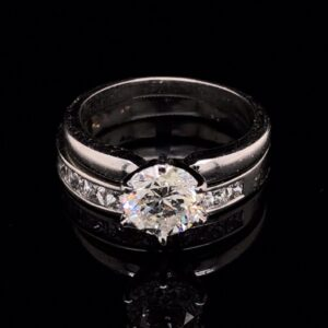 #1484-971800 14K White Gold Solitaire Engagement Ring & Band I SI1