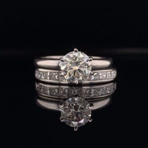 #1484-971800 1.0ct. 14K White Gold Engagement Ring Solotaire & Band I SI1