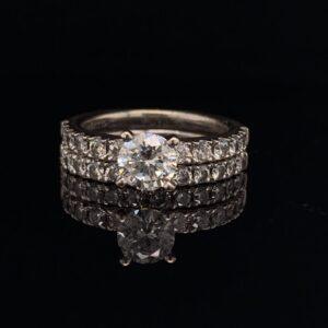 #1459-972000 .85 ct. Round White Gold Engagement Ring & Band|