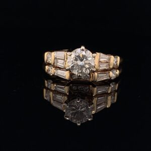 #1456-971500 Round 0.65 ct. G I1 Yellow Gold with band 1.30CTW|