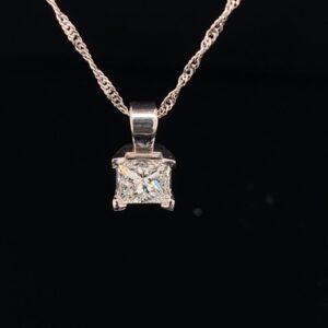 #DYR168-971500 0.80ct. Princess Pendant & Chain|