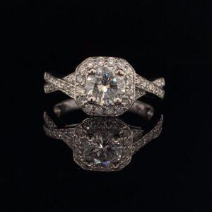 #1478-972000 14K White Gold Engagement Ring Halo Round 2/3 CTW H VS2