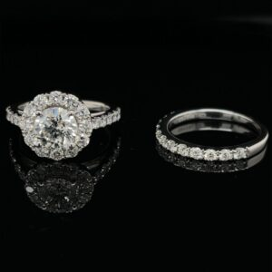 #2717 1.26ct. 14K White Gold Round Halo Engagement Ring