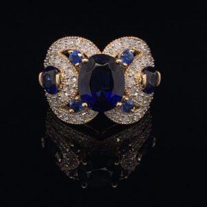 #2777C Three Stone Sapphire Ring