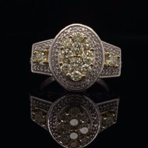 #2777F Oval Cluster Ring Fancy Yellow