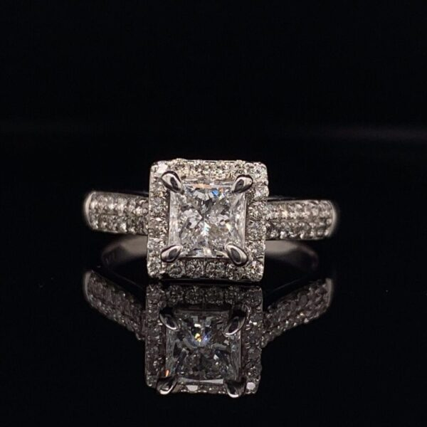 #2816-972200 .082 ct. 14K White Gold Halo Ring Princess H I1 1.70 CTW