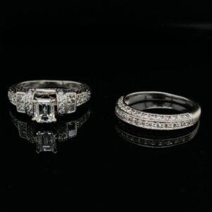 #3029 0.82ct. 14K White Gold Emerald Engagement Ring & Band IGI 1.20CTW