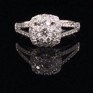 #1481-971000 14K White Gold Cluster Engagement Ring