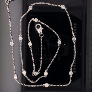 #N4964-97850 W3ct. White Gold Diamond By The Yard Chain