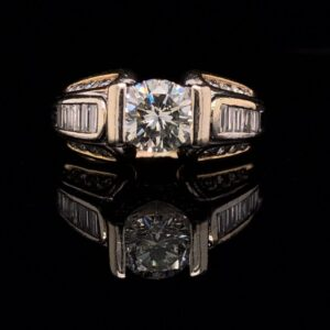 #2844E 972000 14K Yellow Gold Channel Set0.85 ct. Round Stone With Diamonds J SI1
