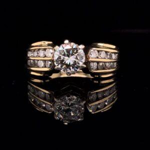 #2844F 972000 14K Yellow Gold Channel Set0.80 ct. Round Stone With Diamonds J VS1