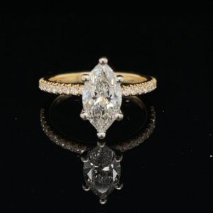 #StockGIA 1.07ct. F I1 Marquise Yellow Gold Engagement Ring