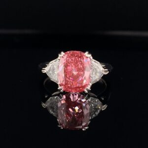 #JP001-9745000 3.12CTW 18k White Gold Three Stone Engagement Ring 2.40CT GIA Certified Fancy Vivid Pink Clarity VS1 Cadillac Cut Diamonds Weighing .72CTs D Color VS1 Clarity