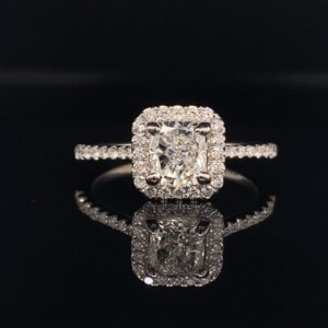 #2793-973000 1.30CTW Cushion Halo Engagement ring 1.02Ct Center F Color SI2 clarity