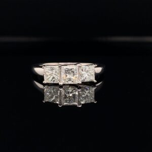 #3009-972500 3 Stone 1.50CTW Princess Cut Engagement Ring H Color I1 Clarity