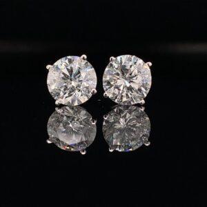 #E105-976995 2.50CTW 14k White Gold Basket Set Earrings H Color I1