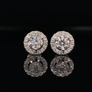 #E101-971500 1.00CTW White Gold Halo Earrings H Color SI2 Clarity