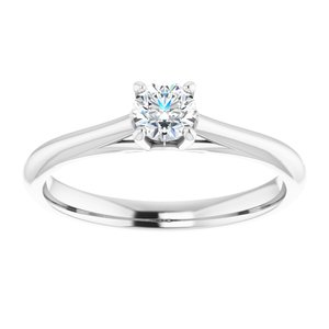 14K White 4.1 mm Round Solitaire Engagement Ring Mounting