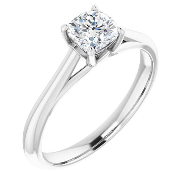 #122047 252 14K White 5 mm Cushion Solitaire Engagement Ring Mounting