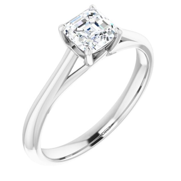 #122047 257 14K White 5 mm Asscher Solitaire Engagement Ring Mounting
