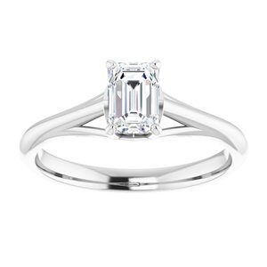 #122047 262 14K White 6x4 mm Emerald Solitaire Engagement Ring Mounting