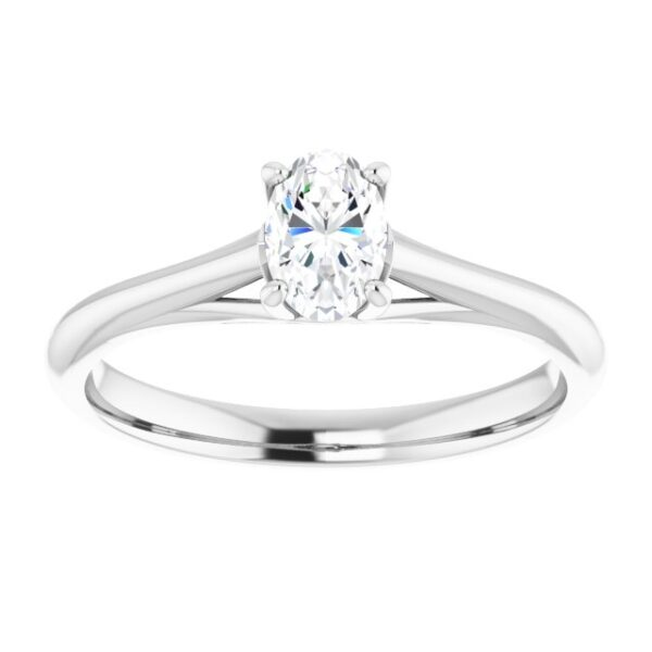 #122047 266 14K White 6x4 mm Oval Solitaire Engagement Ring Mounting