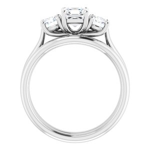 122105 14K White 5 mm Asscher Engagement Ring Mounting 1