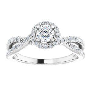 #124435 104 14K White 4.1 mm Round Engagement Ring Mounting