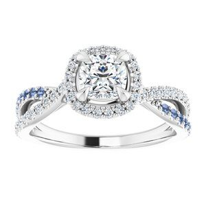 #124435 480 14K White 5 mm Cushion Engagement Ring Mounting