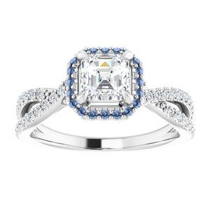 #124435 600 14K White 5 mm Asscher Engagement Ring Mounting