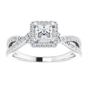 #124435 795 14K White 4 mm Princess Square Engagement Ring Mounting 3