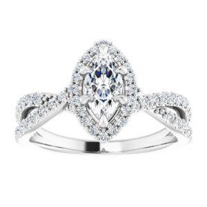 #124435 960 14K White 8x4 mm Marquise Engagement Ring Mounting