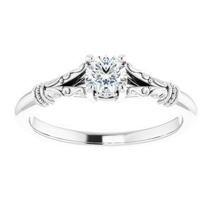 #124648 104 14K White 4.1 mm Round Solitaire Engagement Ring Mounting
