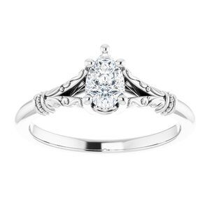 #124648 1065 14K White 6x4 mm Pear Solitaire Engagement Ring Mounting