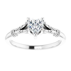 #124648 1170 14K White 5x5 mm Heart Solitaire Engagement Ring Mounting