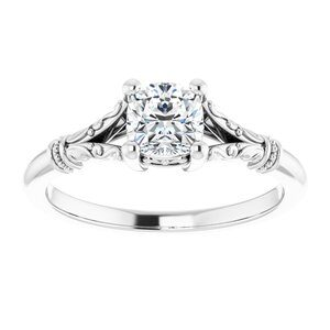 #124648 480 14K White 5 mm Cushion Solitaire Engagement Ring Mounting