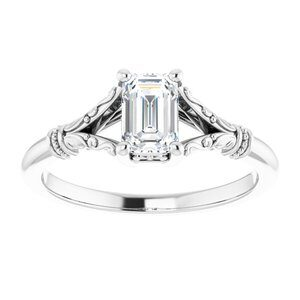 #124648 690 14K White 6x4 mm Emerald Solitaire Engagement Ring Mounting