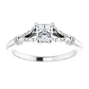 #124648 795 14K White 4 mm Princess Square Solitaire Engagement Ring Mounting