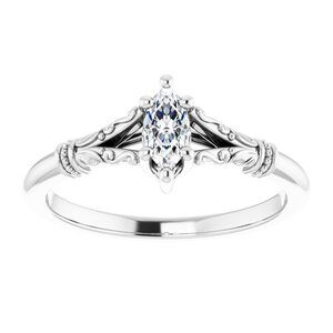 #124648 960 14K White 6x3 mm Marquise Solitaire Engagement Ring Mounting